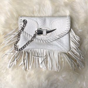 Handbags - White Vegan  Leather Clutch with Chain & Fringe